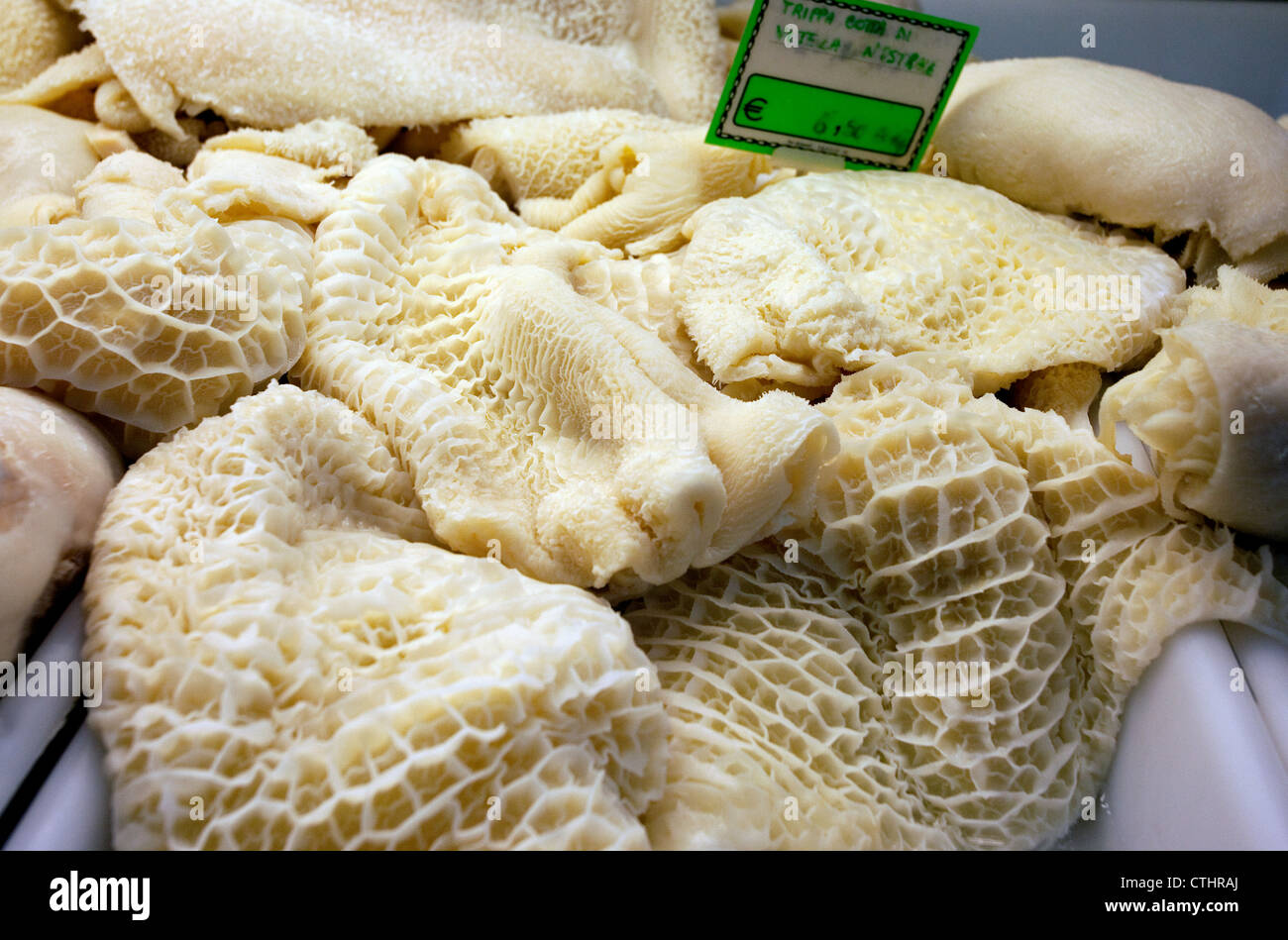 Trippa (cow tripe) on sale in Mercato Centrale, Florence, Italy - Stock Image