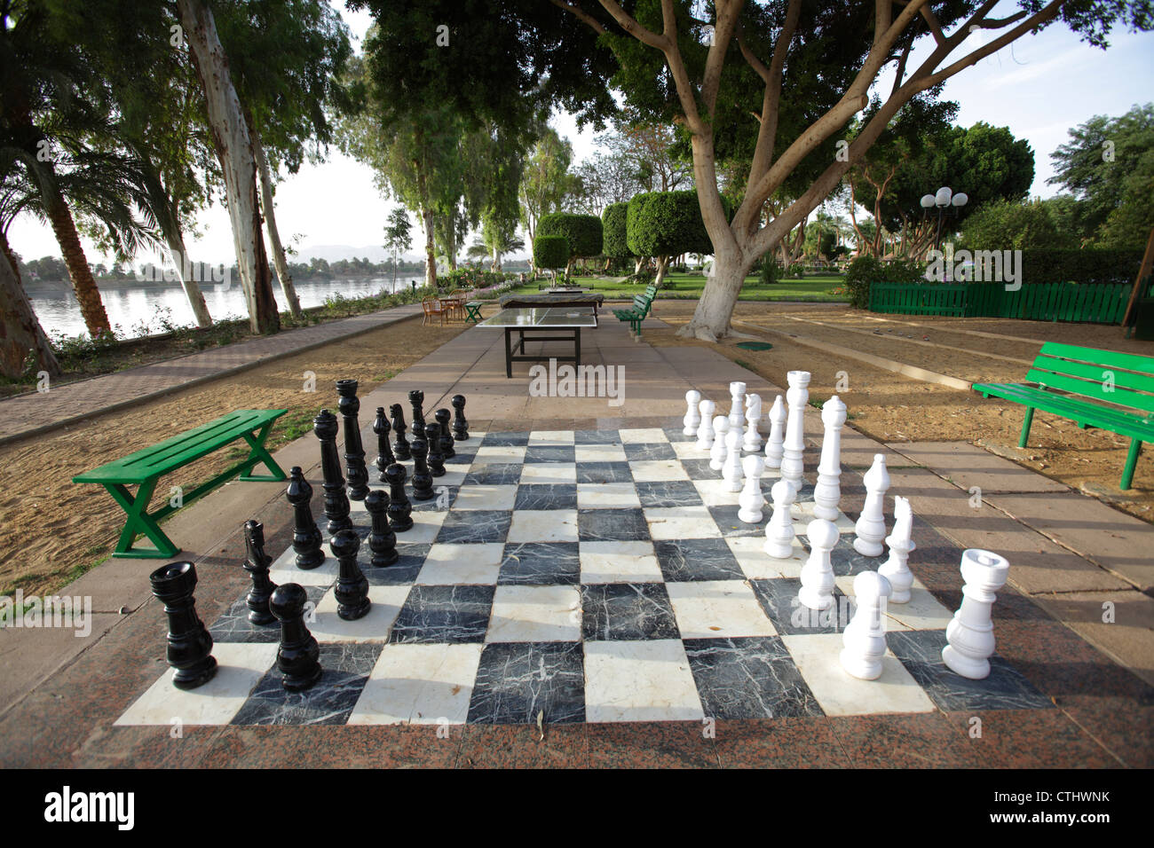 Giant chessboard at Maritim Jolie Ville Kings Island, Luxor, Egypt - Stock Image