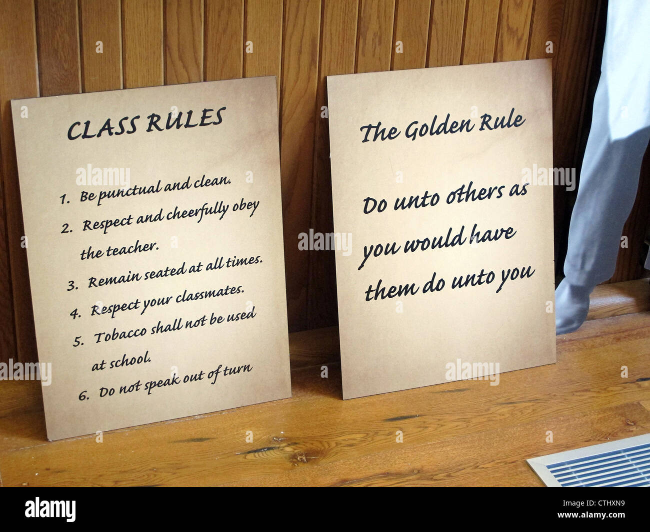 The Golden Rule and Class Rules in the classroom at George Washington Carver National Monument in Diamond, Missouri - Stock Image