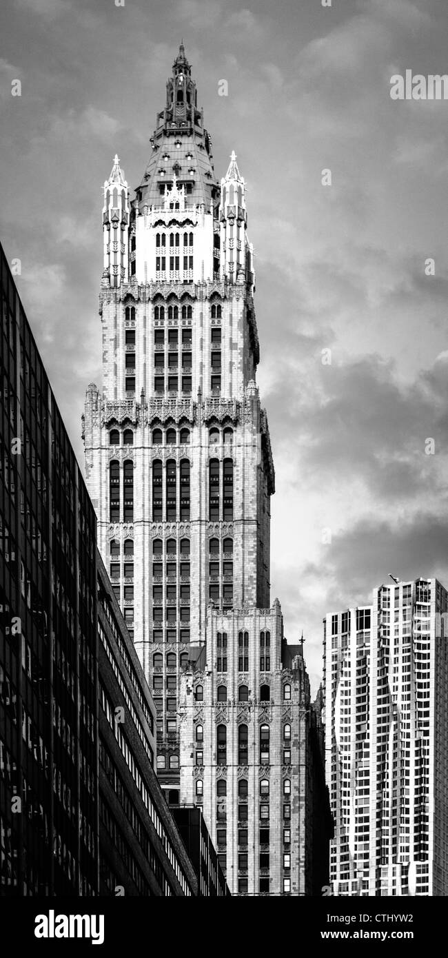 Woolworth buildlng, Beekham Tower by Frank Gehry, Manhattan, Vertical, New York - Stock Image