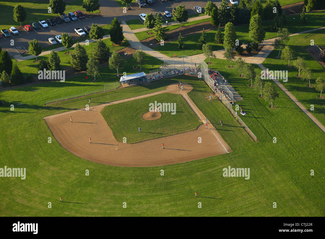 Little league baseball field, aerial view - Stock Image