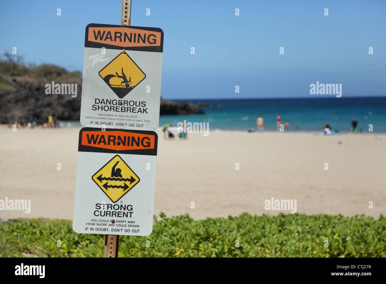 Warning sign at Hapuna Beach, Hawaii, Hawaii - Stock Image