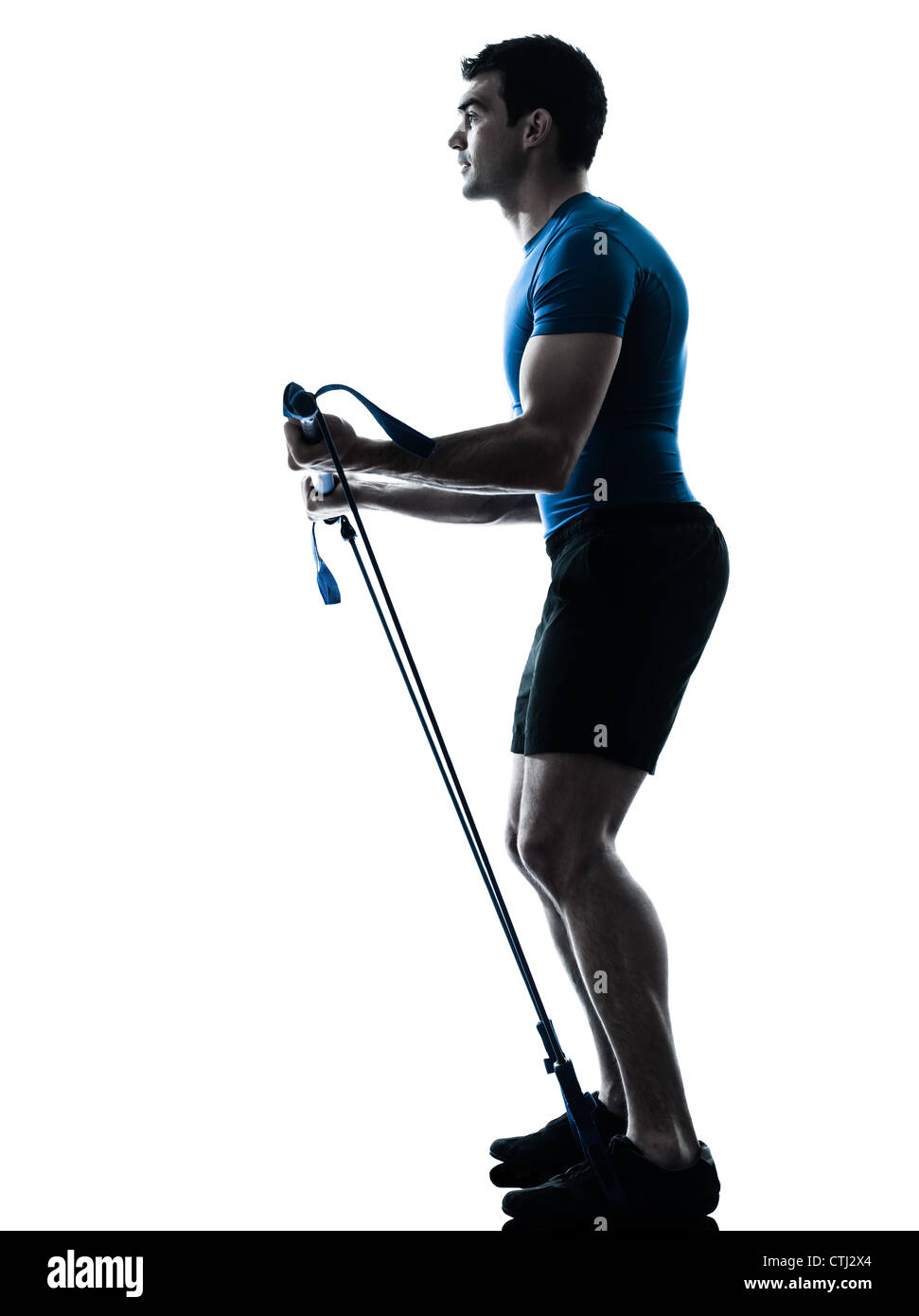 one caucasian man exercising workout fitness in silhouette studio  isolated on white background - Stock Image