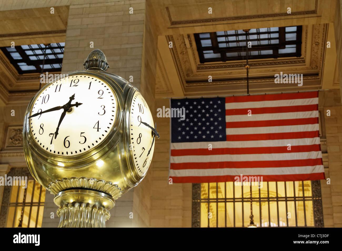 Clock at Grand Central station, Manhattan, New York - Stock Image
