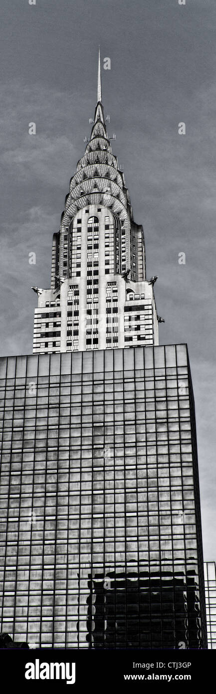 Chrysler building, vertical, black & white, New York  - Stock Image