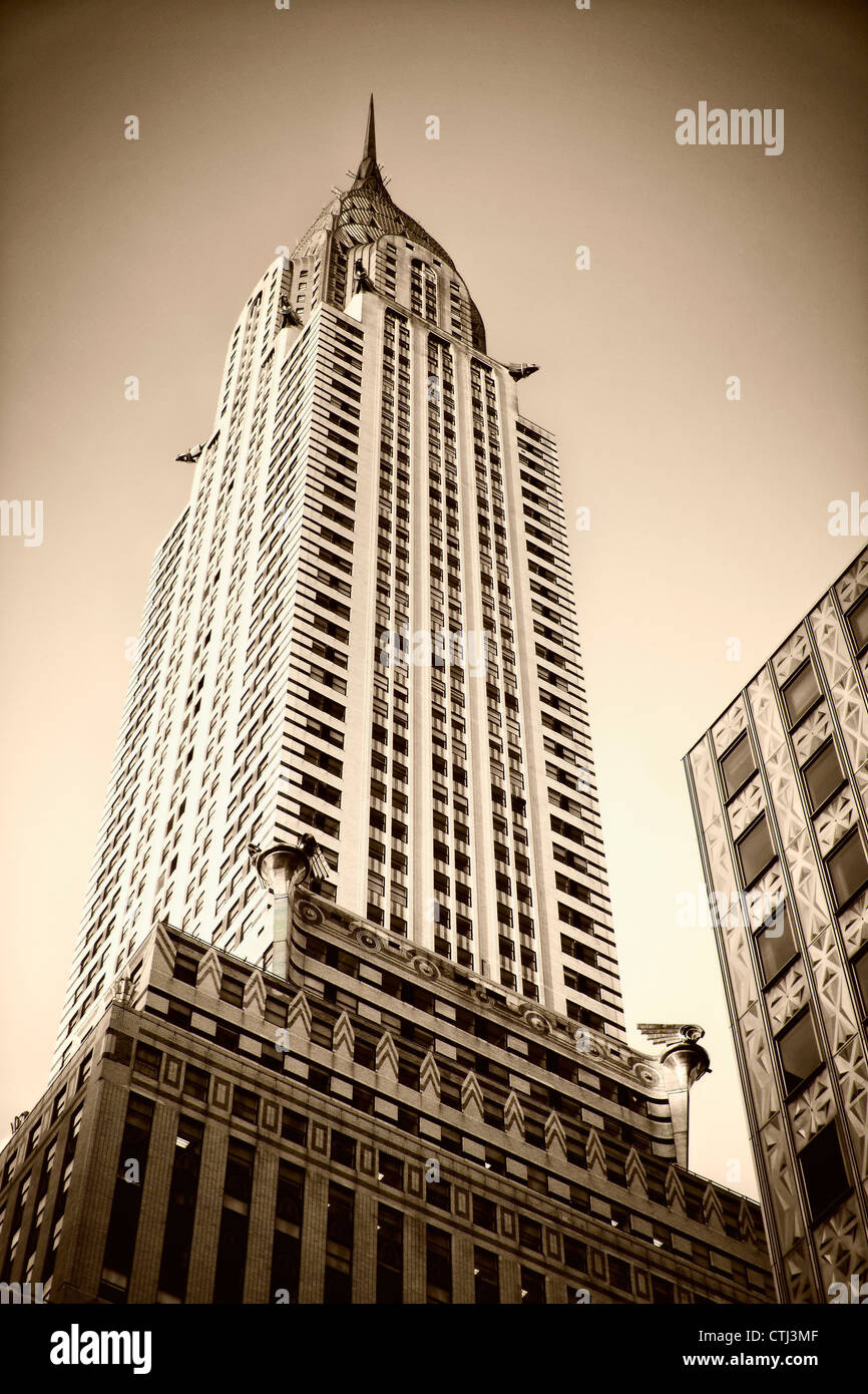 Chrysler building, vertical, Sepia , New York  - Stock Image