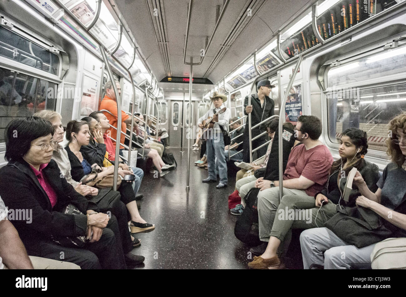 People in a Subway Train in New York  Stock Photo
