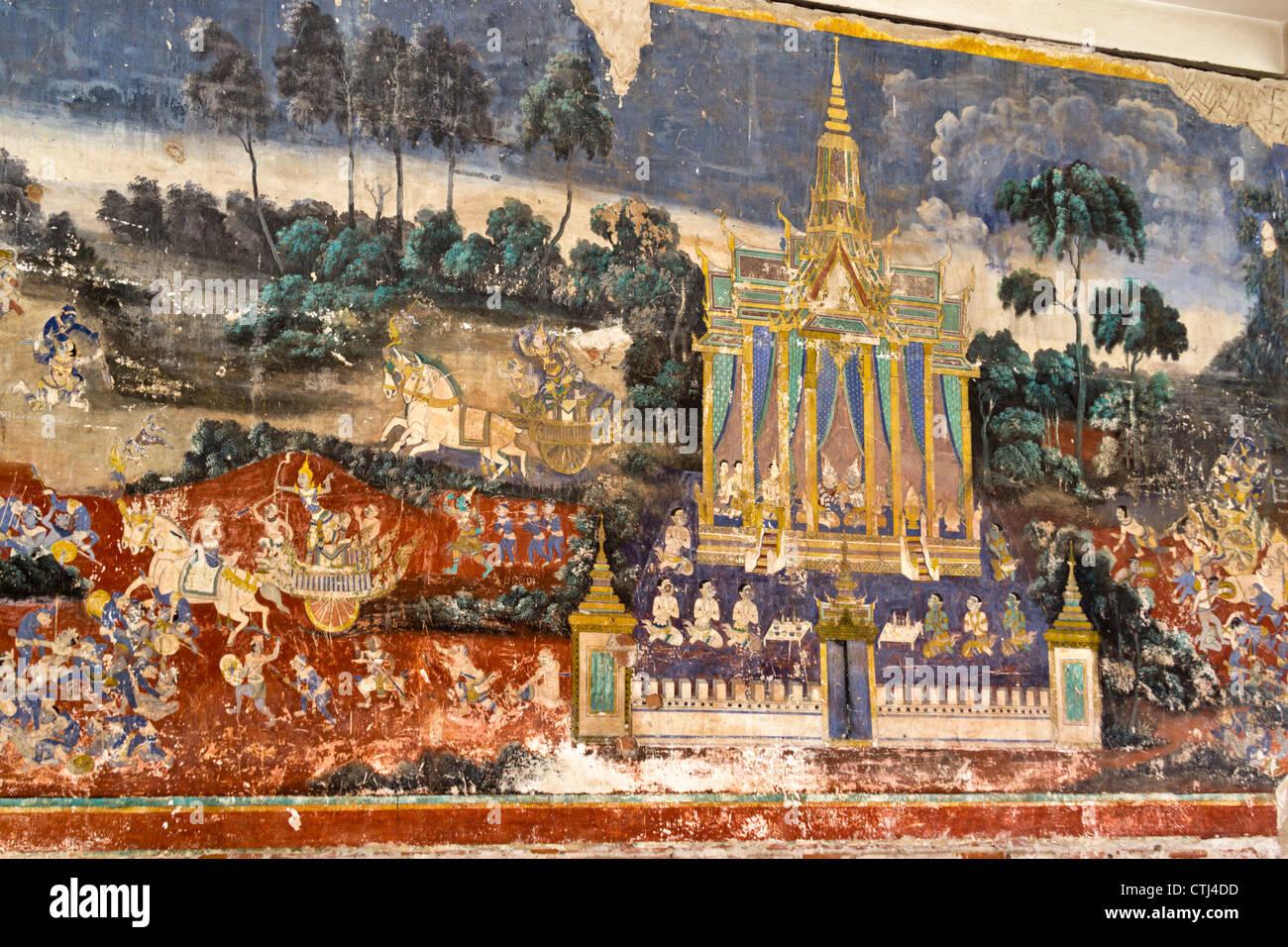 Royal Palace , Wall Painting, Phnom Penh , Cambodia - Stock Image