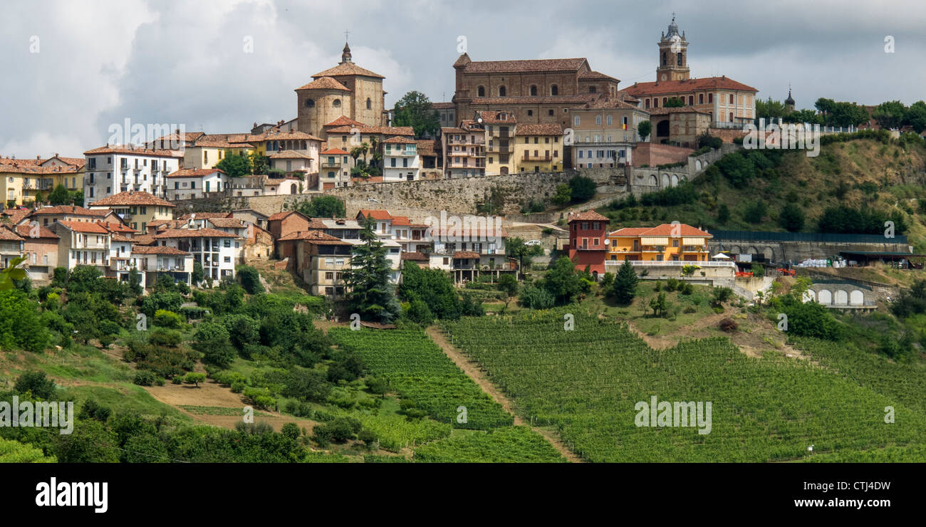 Monteforte D Alba , vineyards, Panorama, Province Piedmont, Italy Stock Photo
