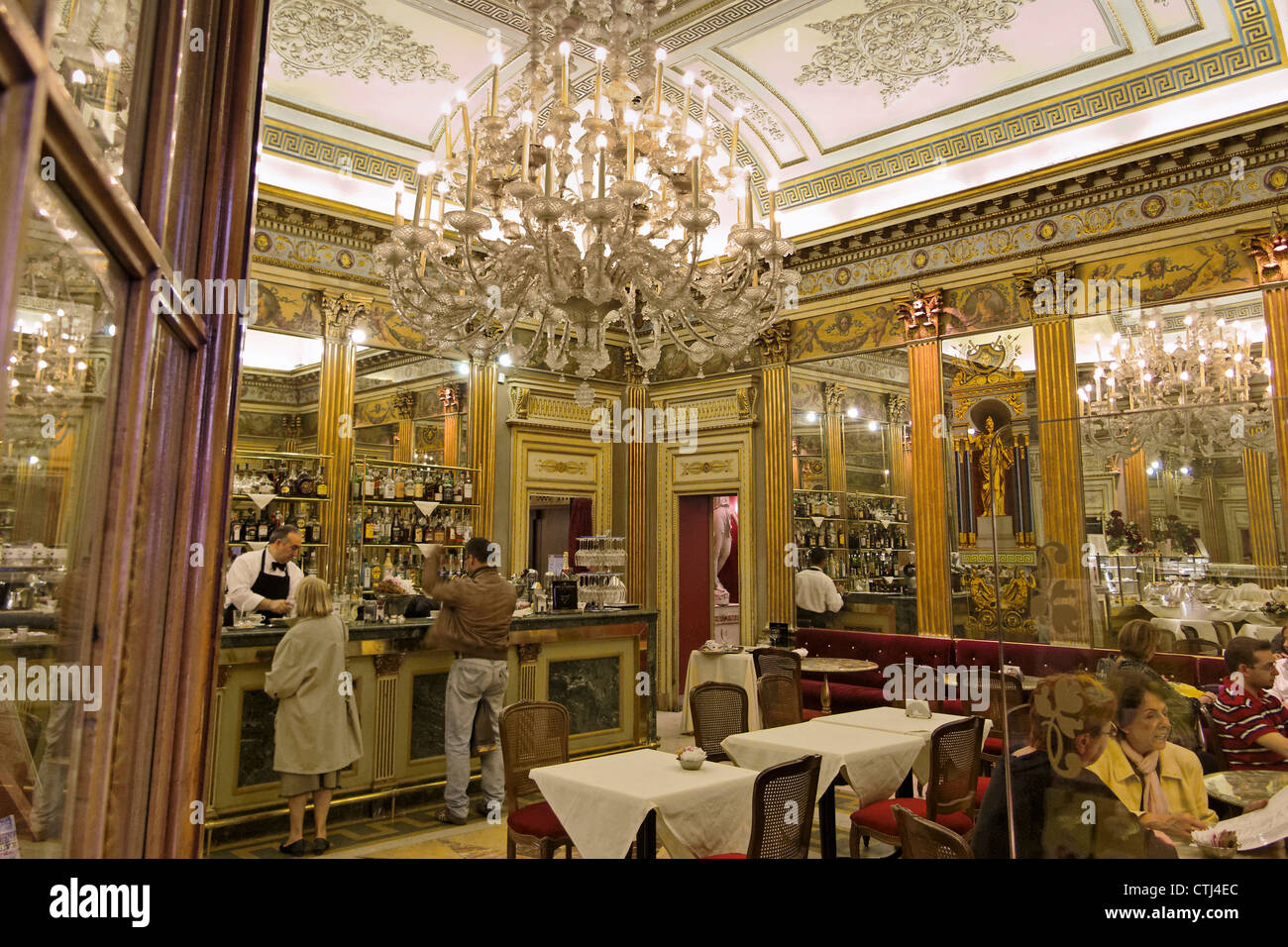 Indoor view of Cafe San Carlo Torino , Piemont, Italy - Stock Image
