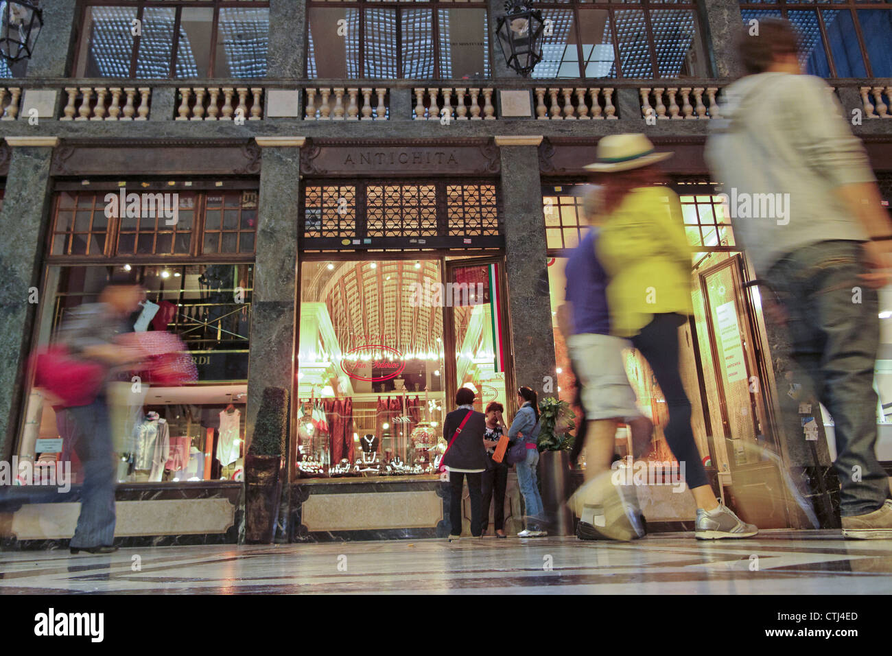 Shopping Passage, old city center of Turin Piedmont, Italy - Stock Image