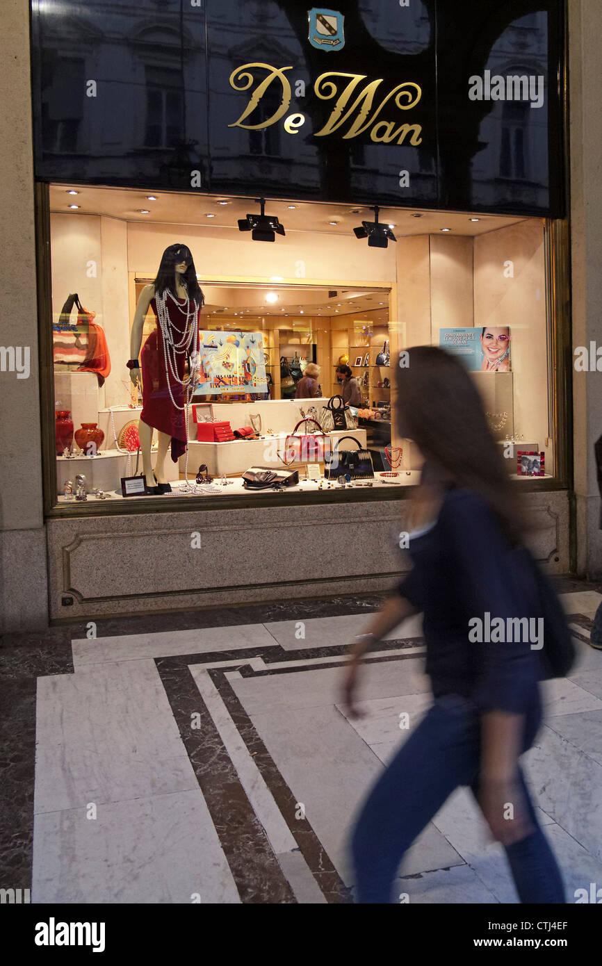 De Wan fashion shop in Via Roma, Turin Piedmont, Italy - Stock Image