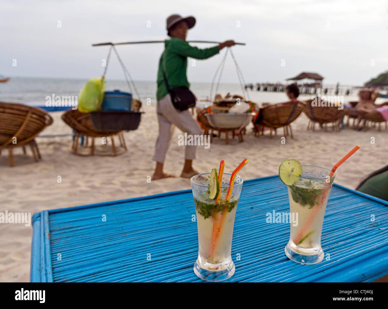 Beach Bar, Occheuteal beach, Sihanoukville, Cambodia, Asia, - Stock Image