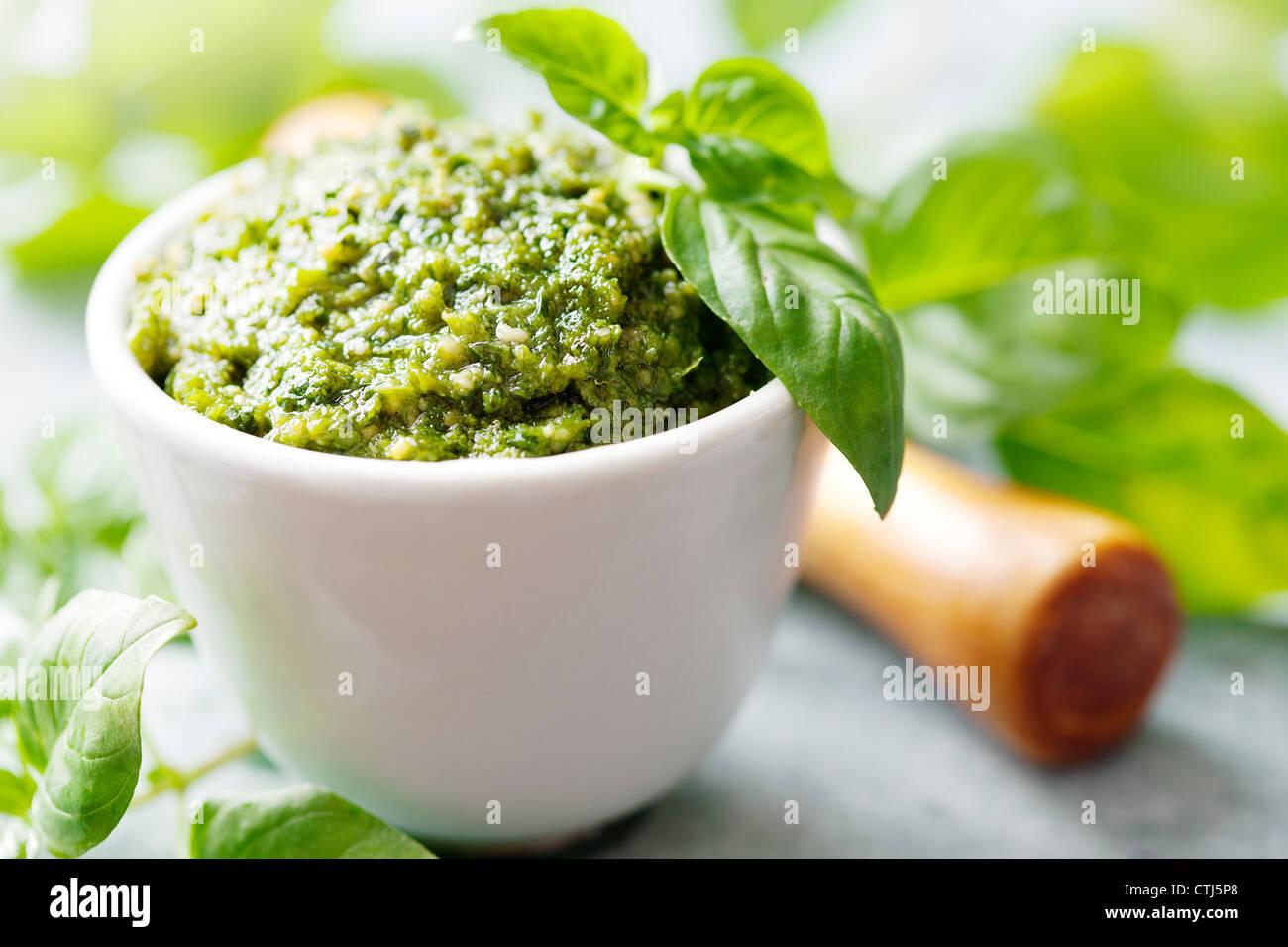 fresh pesto - Stock Image