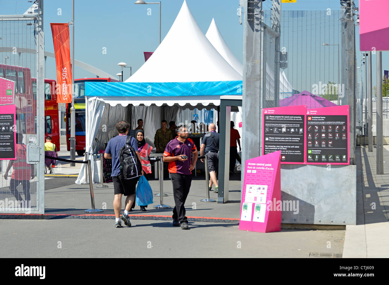 Security check at entry point for media press & broadcasters at the London 2012 Olympic Park Olympic Park Stratford Stock Photo