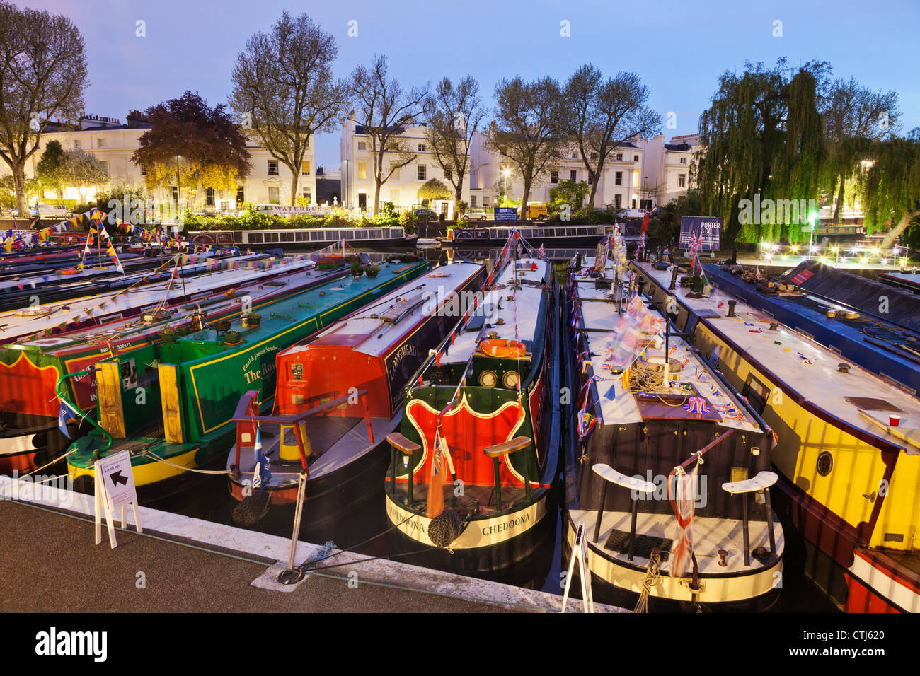 England, London, Little Venice, Canal Boats - Stock Image