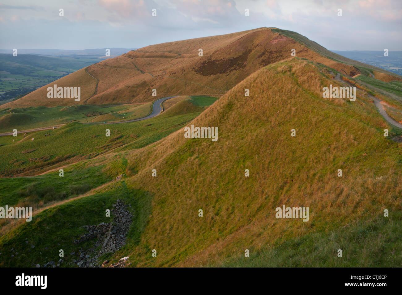 Mam Tor from Rushup Edge, Dark Peak, Peak District National Park Derbyshire - Stock Image