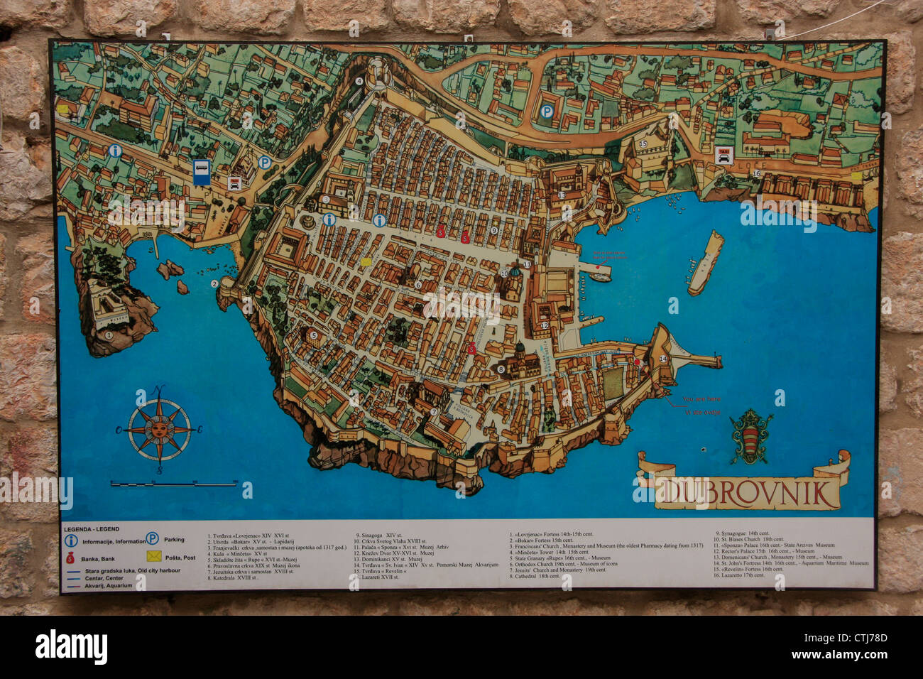 Map of old town of dubrovnik croatia stock photo 49573341 alamy map of old town of dubrovnik croatia gumiabroncs Gallery