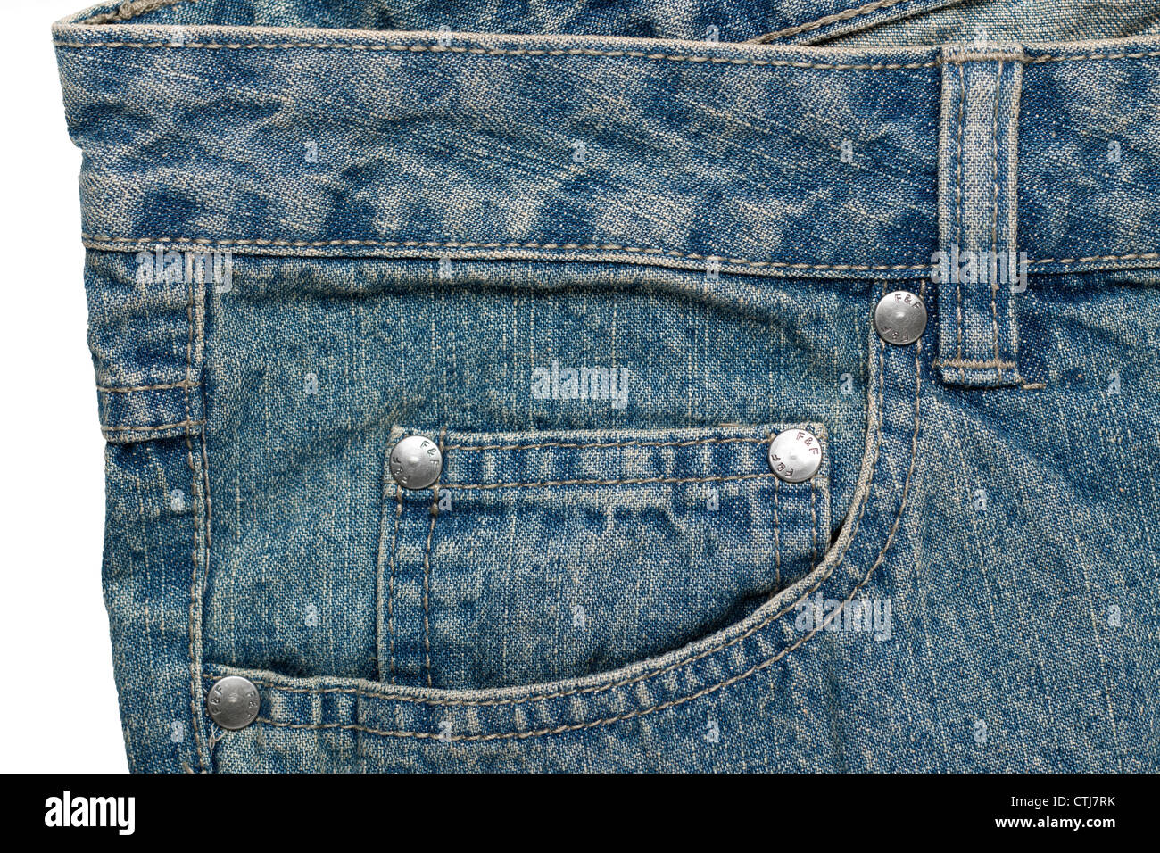 Coin pocket on a pair of denim jeans - Stock Image