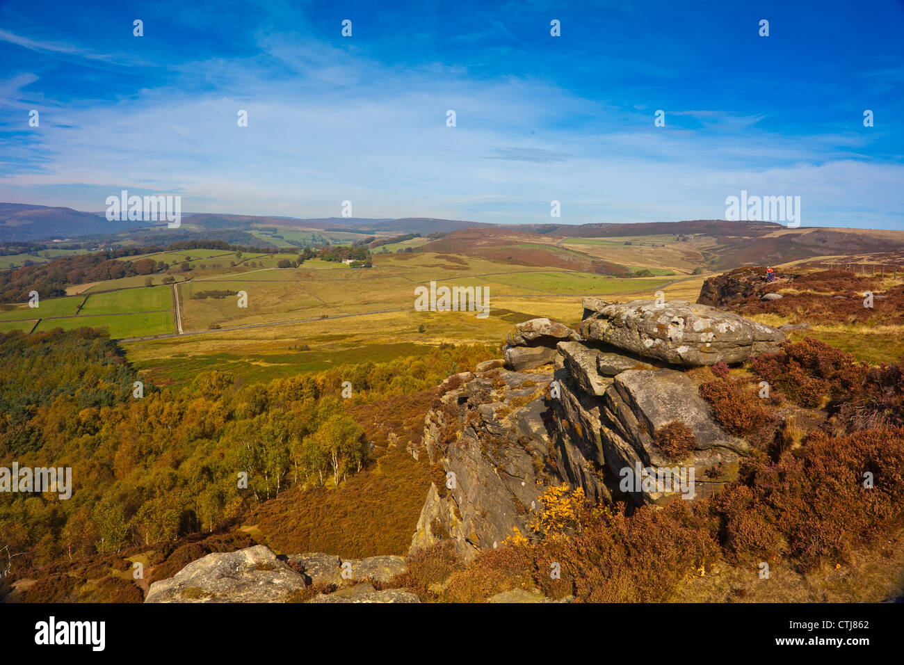 Looking north east from Millstone Edge towards Kinder Scout in the Peak District National Park Derbyshire England - Stock Image