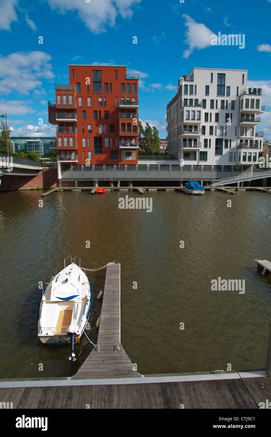 Westhafen the new residential housing district Rotterdamer Werft pier Frankfurt am Main state of Hesse Germany Europe Stock Photo