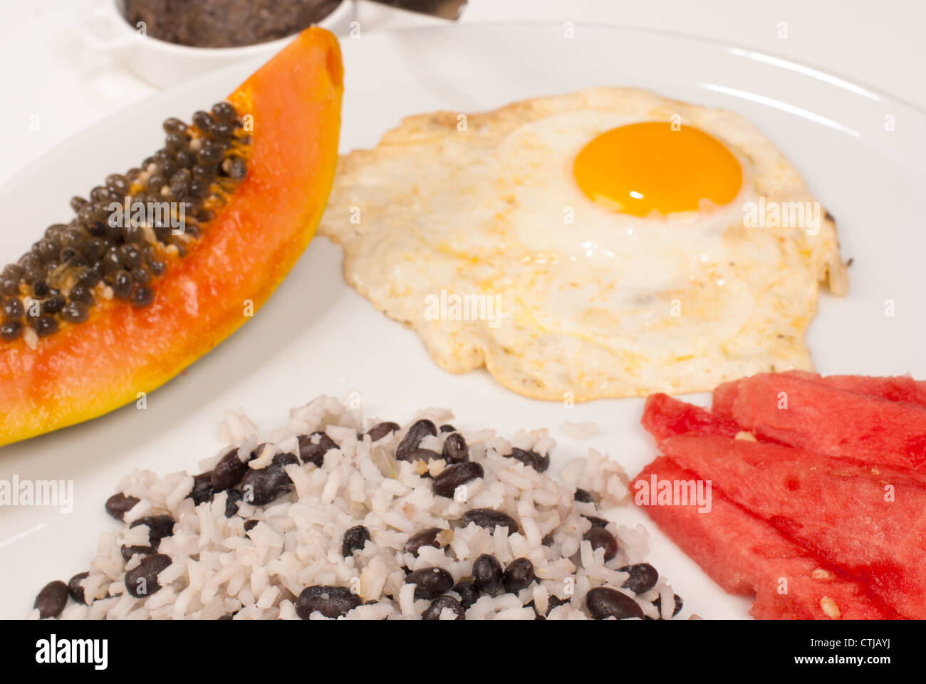 Black Beans and Rice with Papaya and Red Onions photo