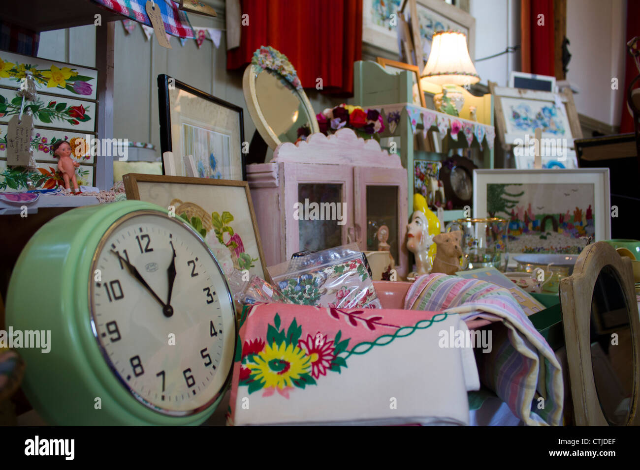Kitsch and Cool, a selection of retro handmade items for sale at a Craft fair in Kent - Stock Image