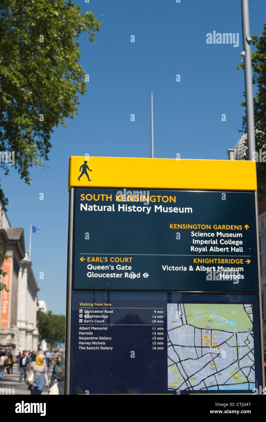 direction board outside the natural history museum on exhibition road, south kensington, london, england Stock Photo
