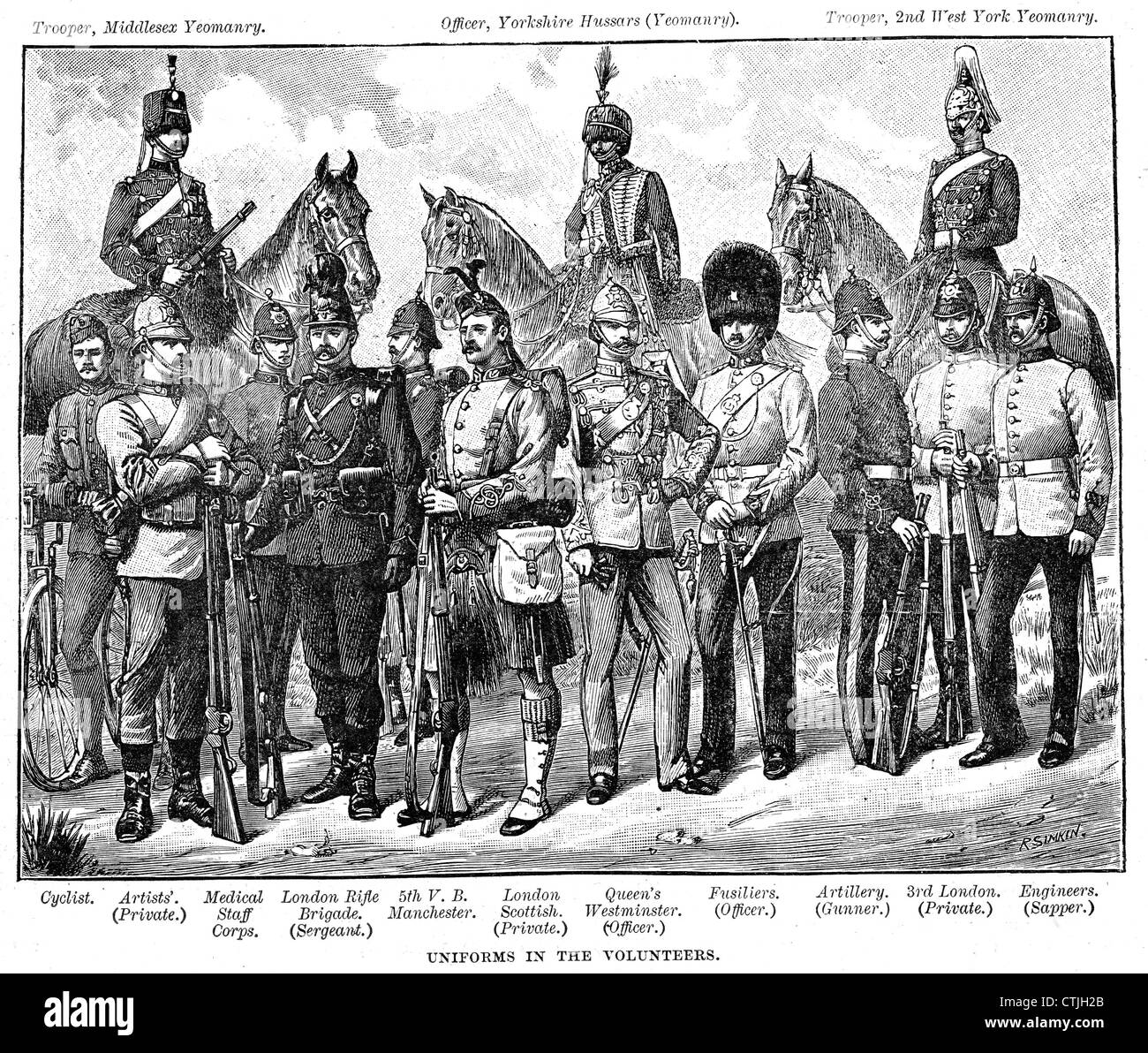 VICTORIAN UNIFORMS OF VOLUNTEER REGIMENTS in the British Army about 1900 - Stock Image