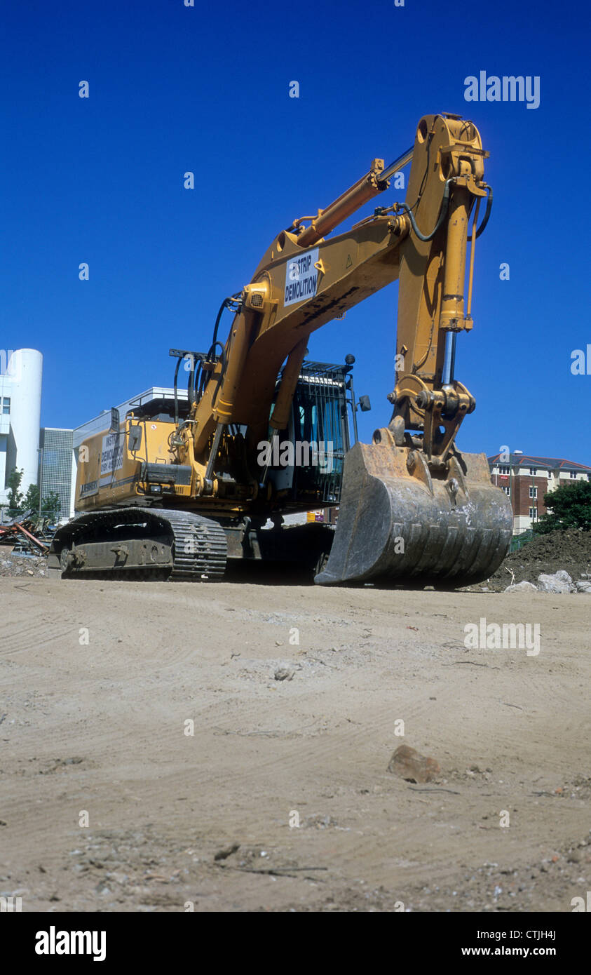 Liebherr-360 Excavator Machine stationary upon a building site in Northern England. - Stock Image