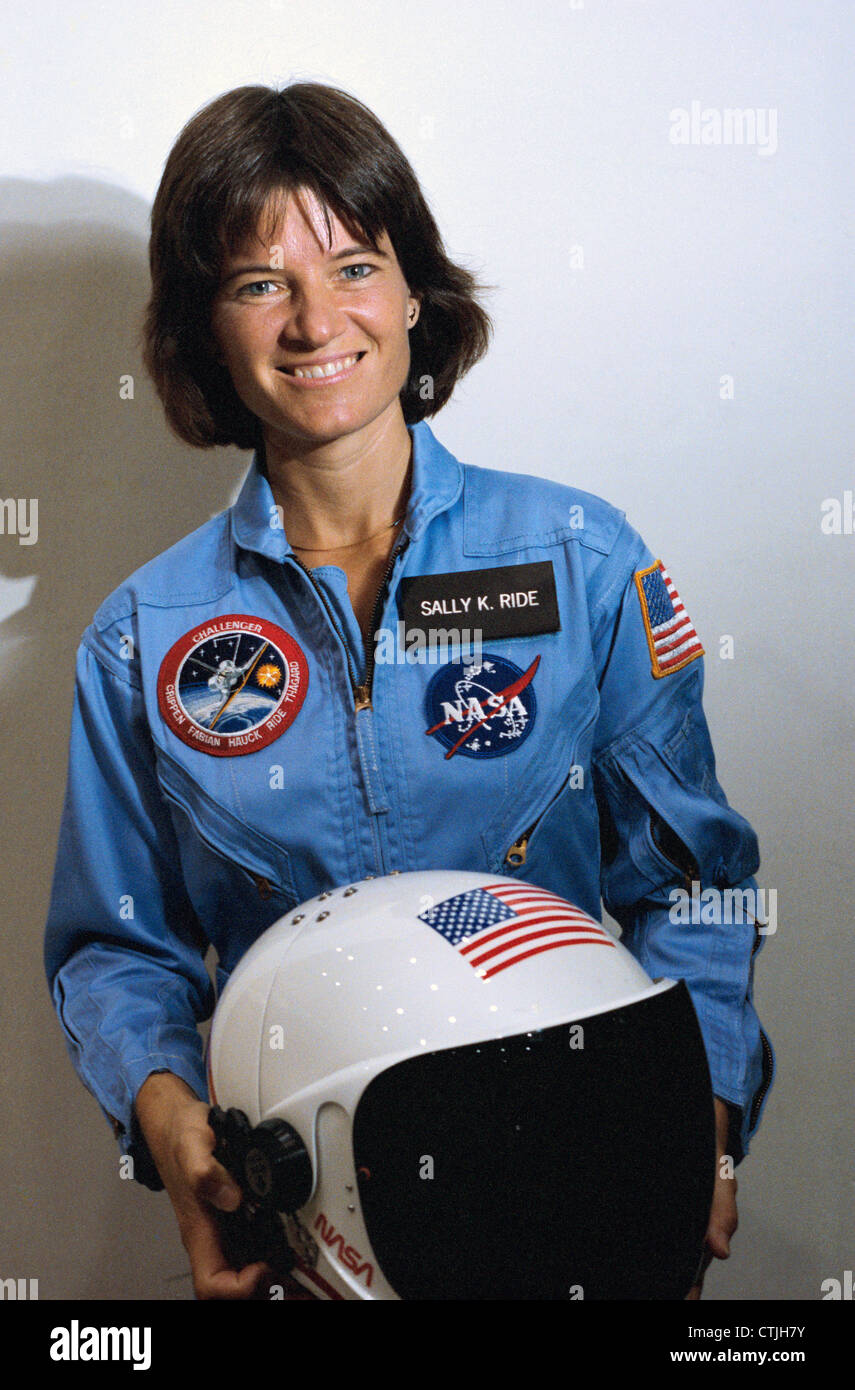 NASA Astronaut Sally Ride takes a break from training as a mission specialist for NASA's STS-7 spaceflight May - Stock Image
