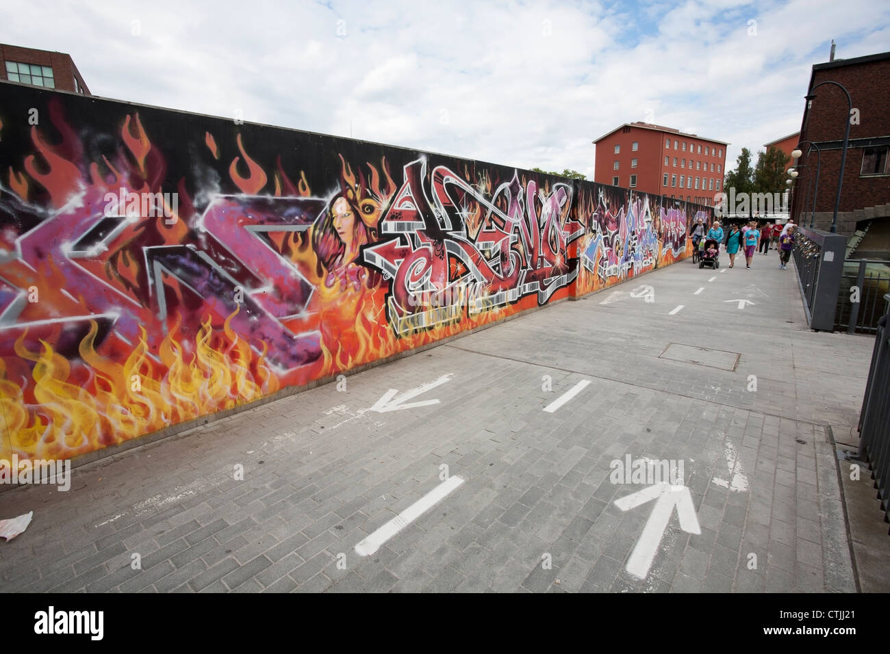 Graffiti wall, Tampere Finland Stock Photo