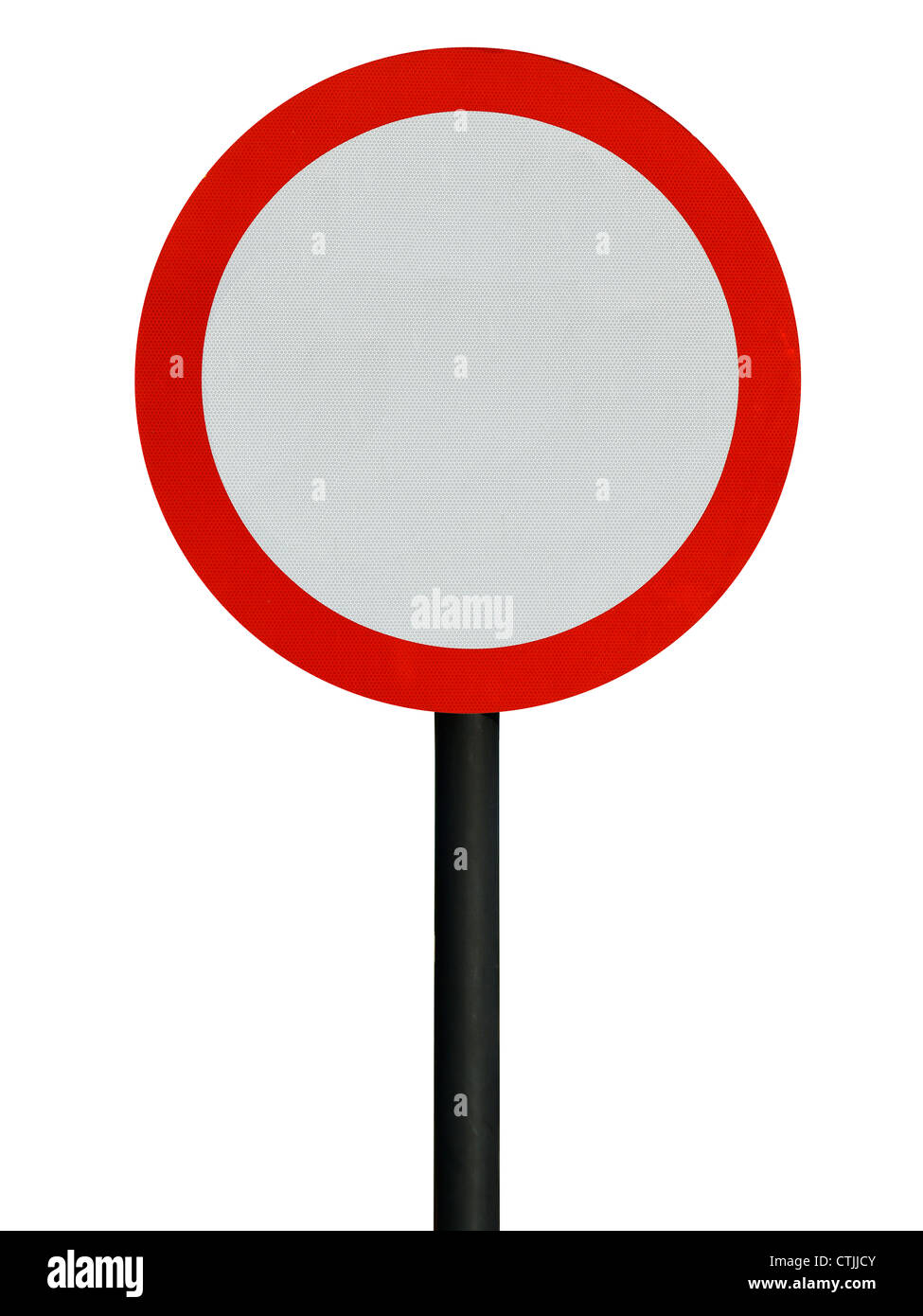 Red blank round road sign Stock Photo