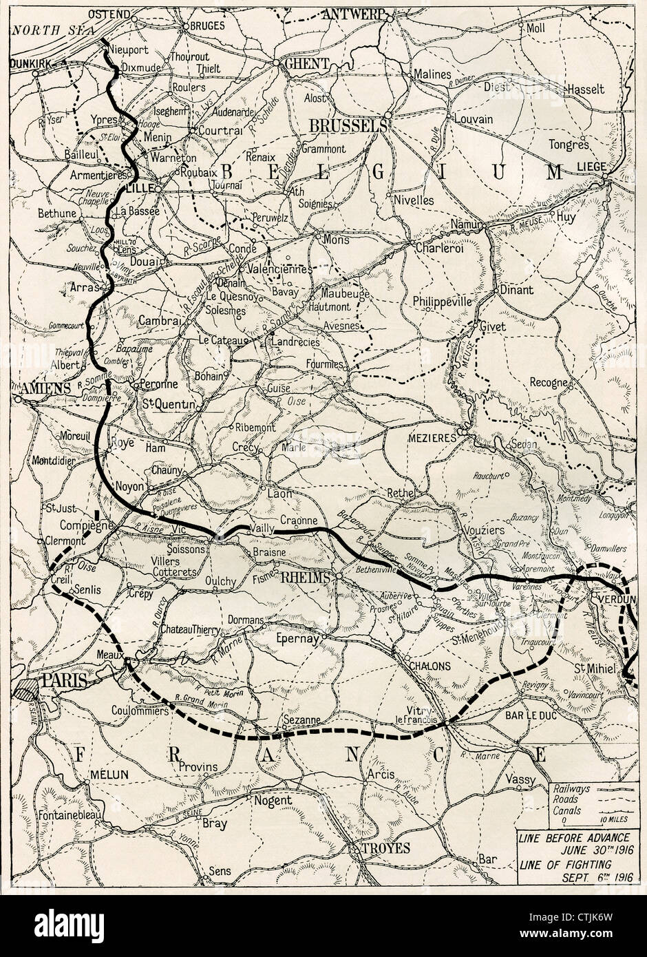 Map of the Somme offensive on the Western Front during World War One. - Stock Image