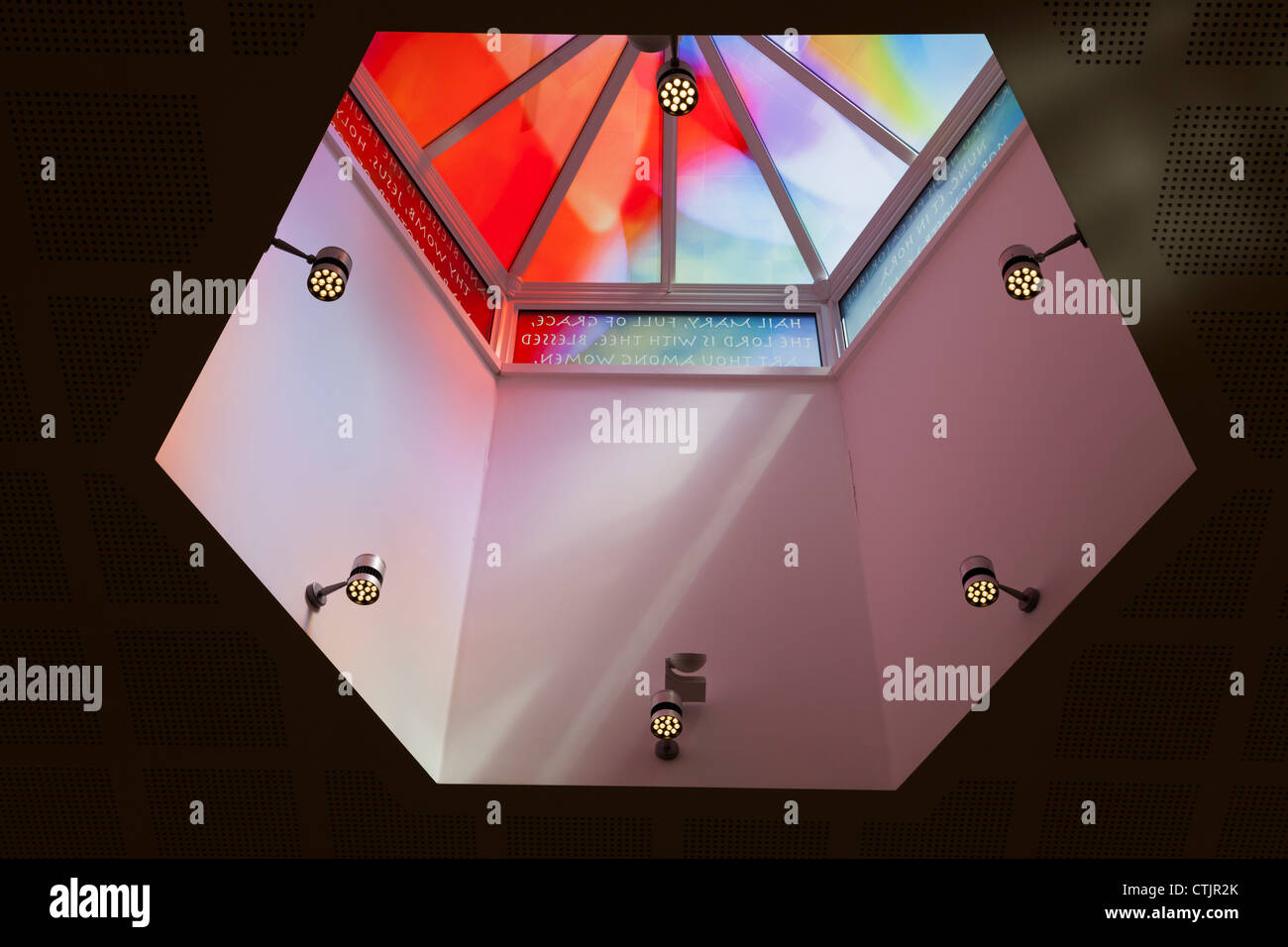 Stained Glass roof lantern in St Mary's Church in Alton - Stock Image
