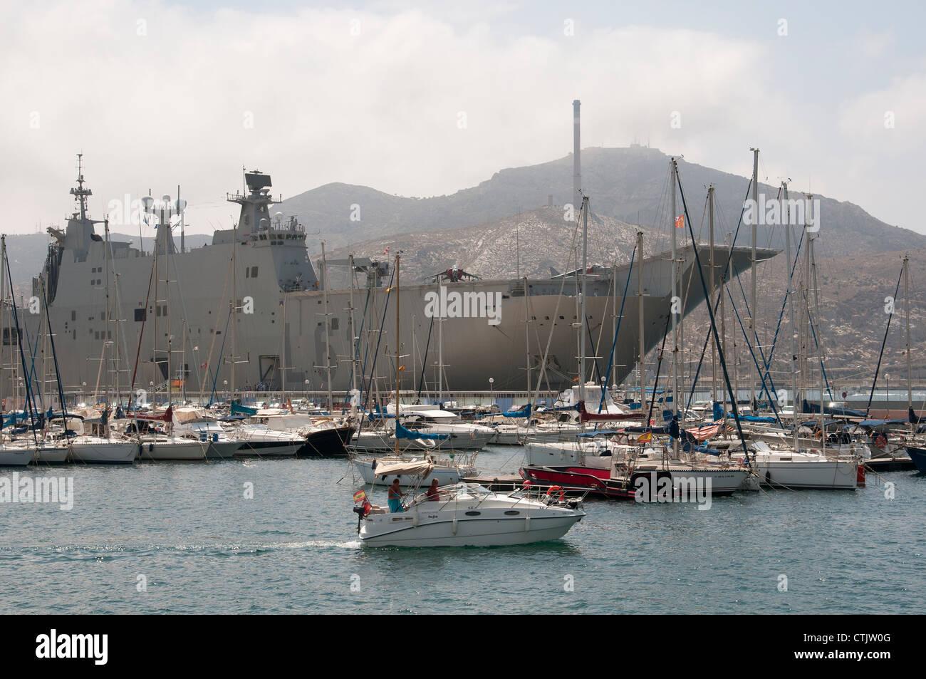 L61 the Juan Carlos 1 alongside in Cartagena Harbour southern Spain Stock Photo