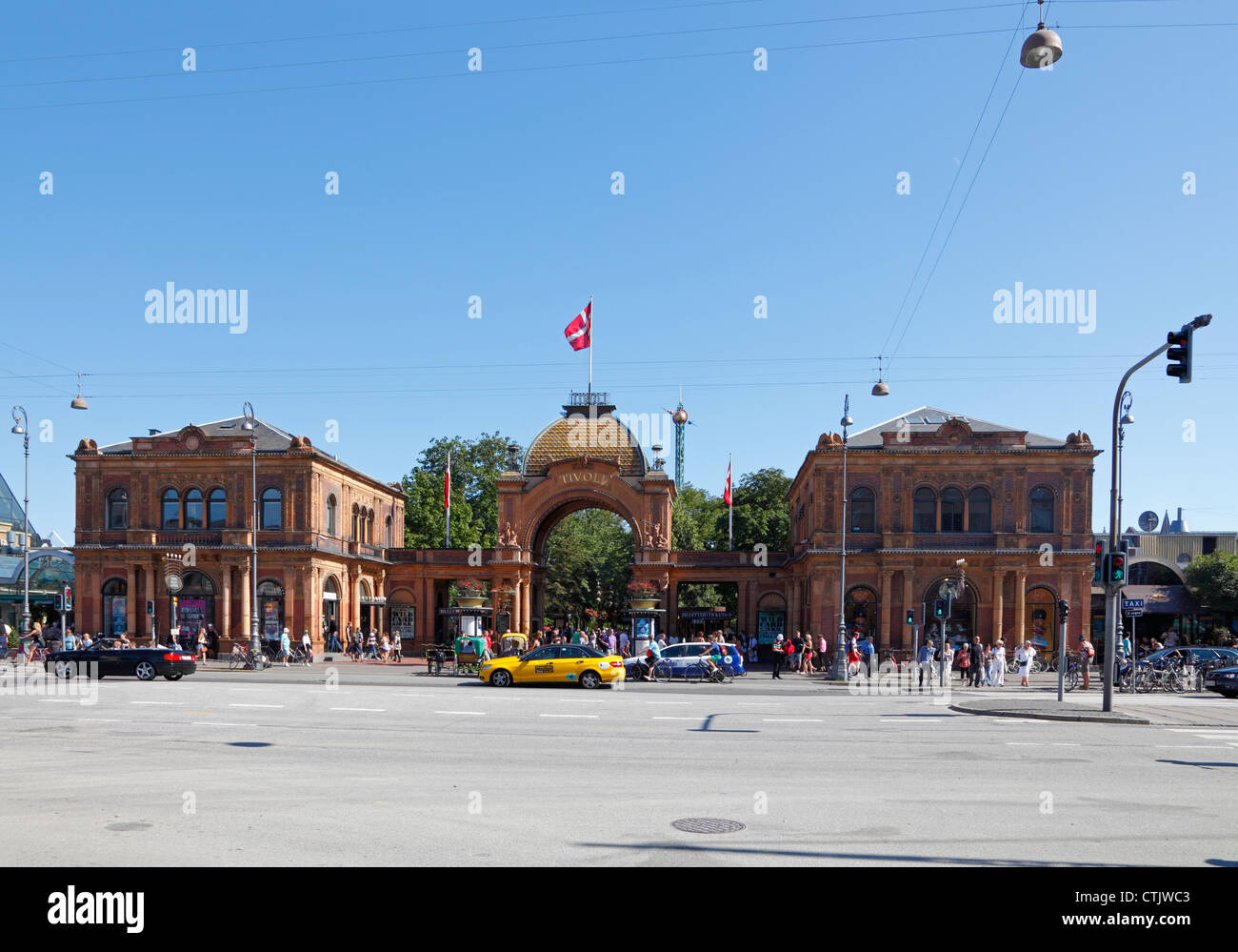 The historic main entrance to the old Tivoli Gardens on Vesterbrogade in Copenhagen, Denmark on a sunny summer's - Stock Image