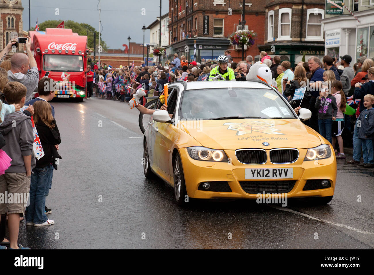 2012 Olympic Torch relay car in Newmarket Suffolk Est Anglia UK - Stock Image