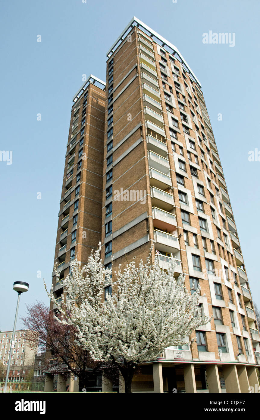 Tower Block, Sivill House, with flowering cherry in front, Columbia Road Tower Hamlets London England UK - Stock Image