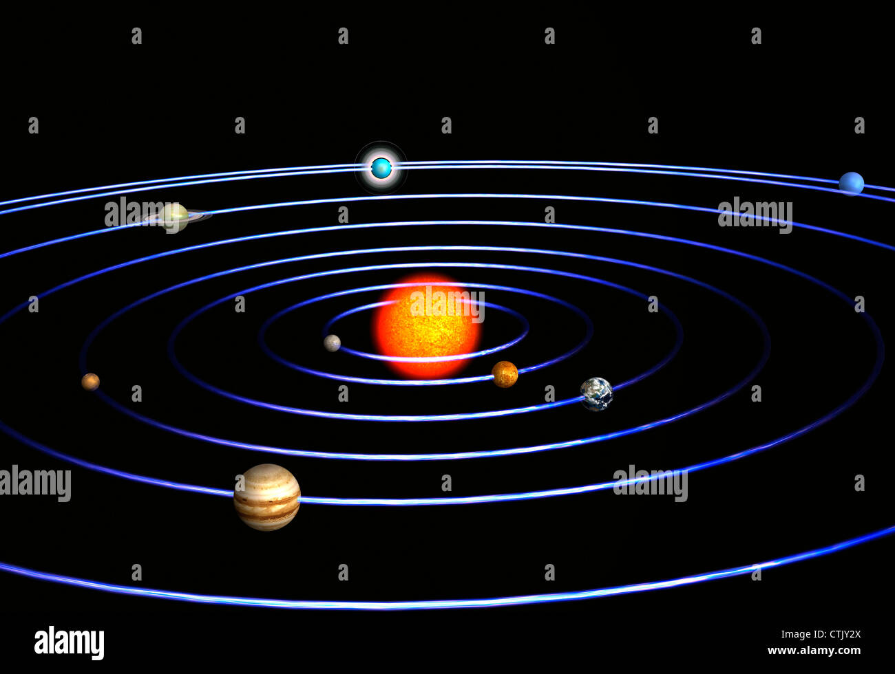 Solar system with the sun in the center and the planets ...