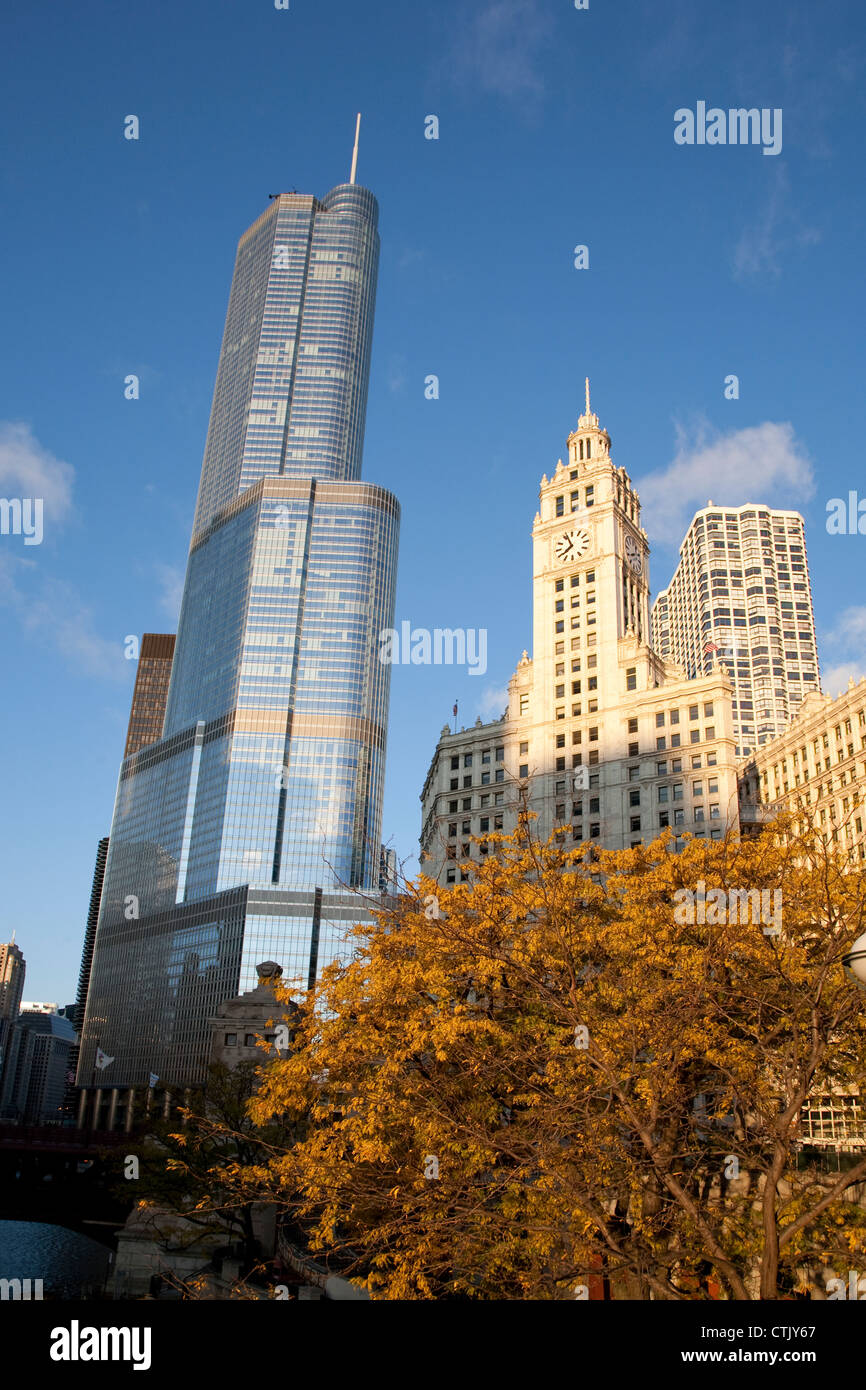 The Trump International Hotel and Tower and Wrigley Building in downtown chicago in autumn fall - Stock Image