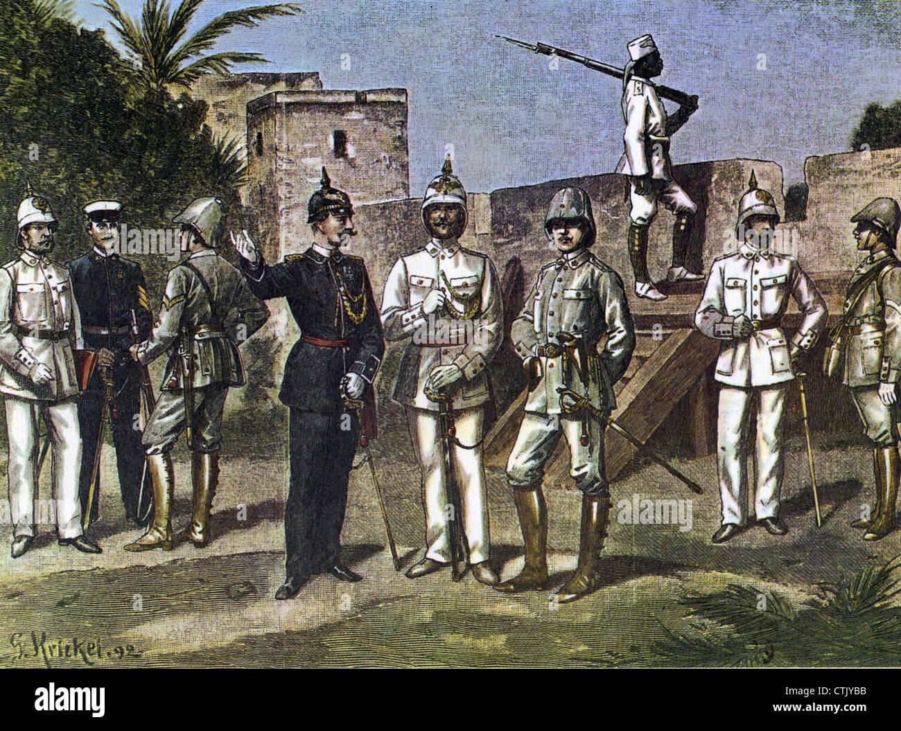 GERMAN  COLONIAL OFFICERS IN AFRICA  in 1892 as shown in the French magazine Le Petit Illustre - Stock Image