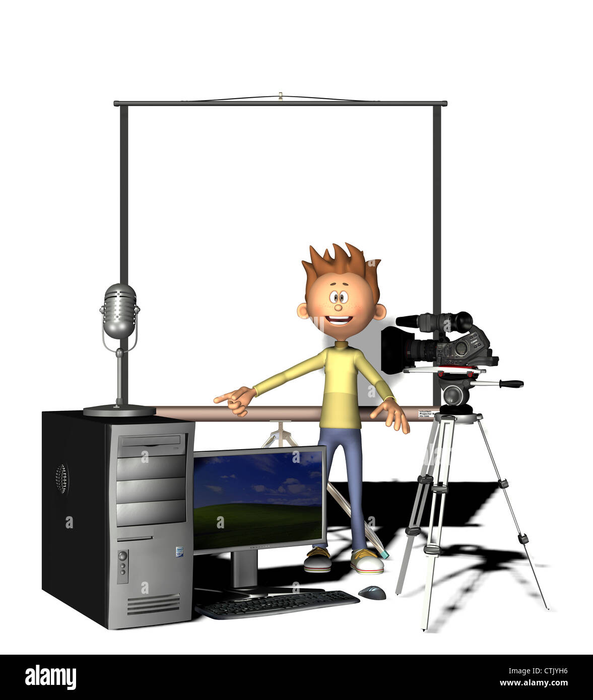 cartoon figure with silver screen and multimedia equipment (Computer, Video, Audio) - Stock Image