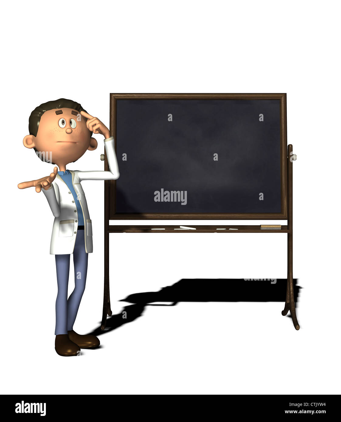 cartoon figure chemist with board Stock Photo