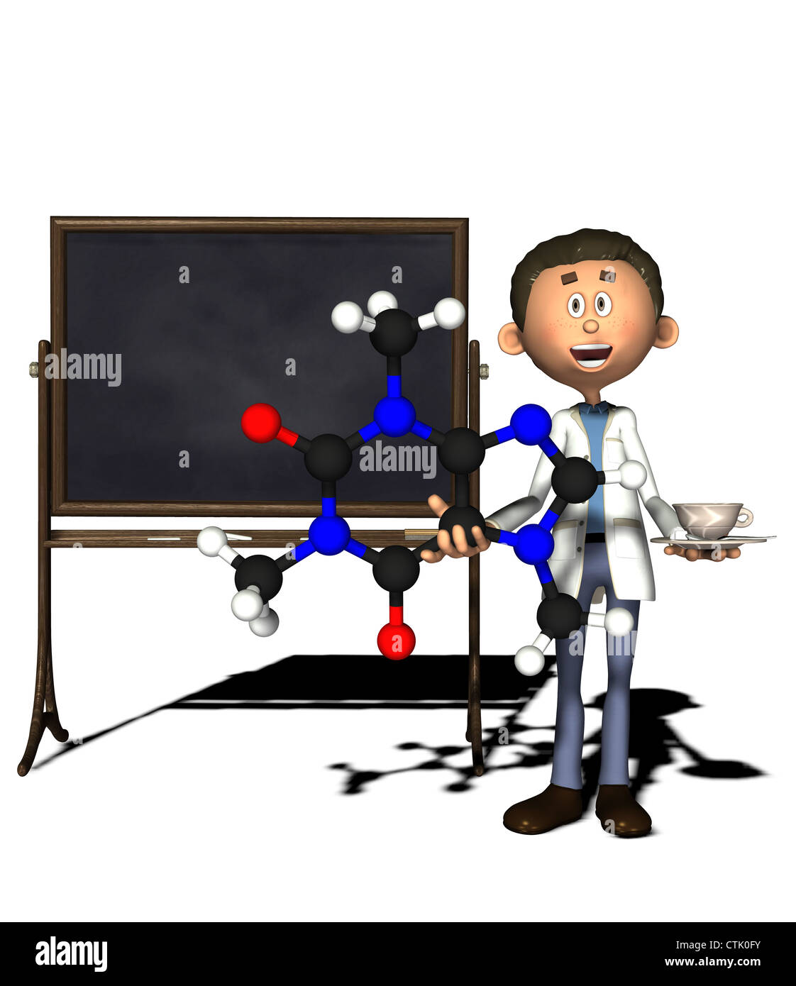 cartoon figure chemist with board Stock Photo