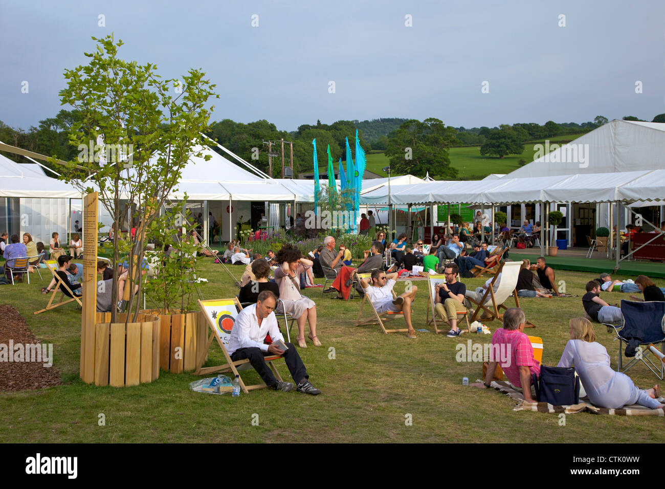 Central garden at the Guardian Hay Festival of Literature, Hay-on-Wye, Powys, Wales, Cymru, UK, United Kingdom, - Stock Image