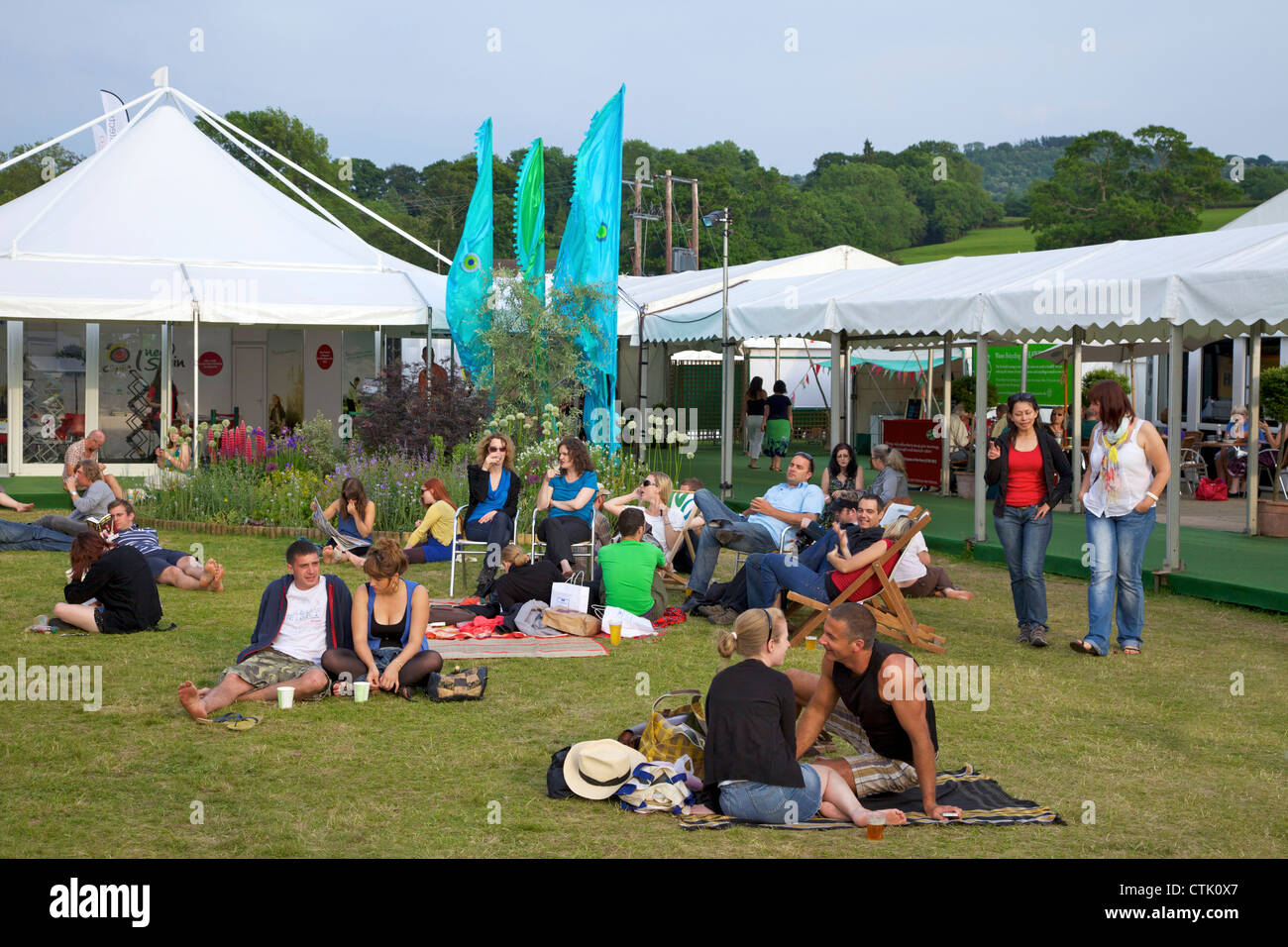 Central garden at the Guardian Hay Festival of Literature 2010, Hay-on-Wye, Powys, Wales, Cymru, UK, United Kingdom, - Stock Image
