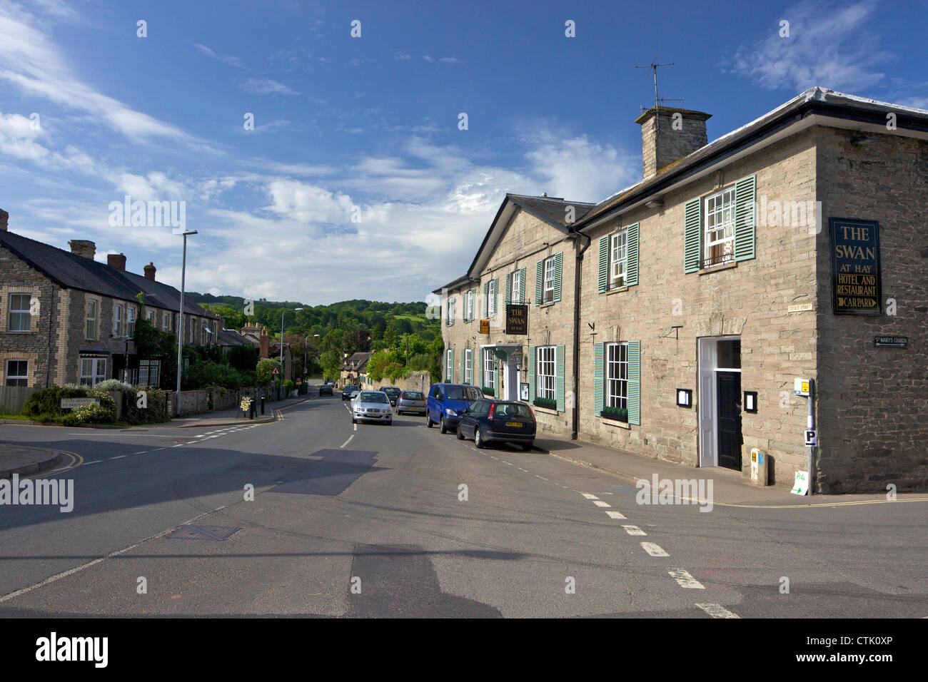 The Swan Hotel and Restaurant at Hay-on-Wye, Powys, Wales, Cymru, UK, United Kingdom, GB, Great Britain, British - Stock Image