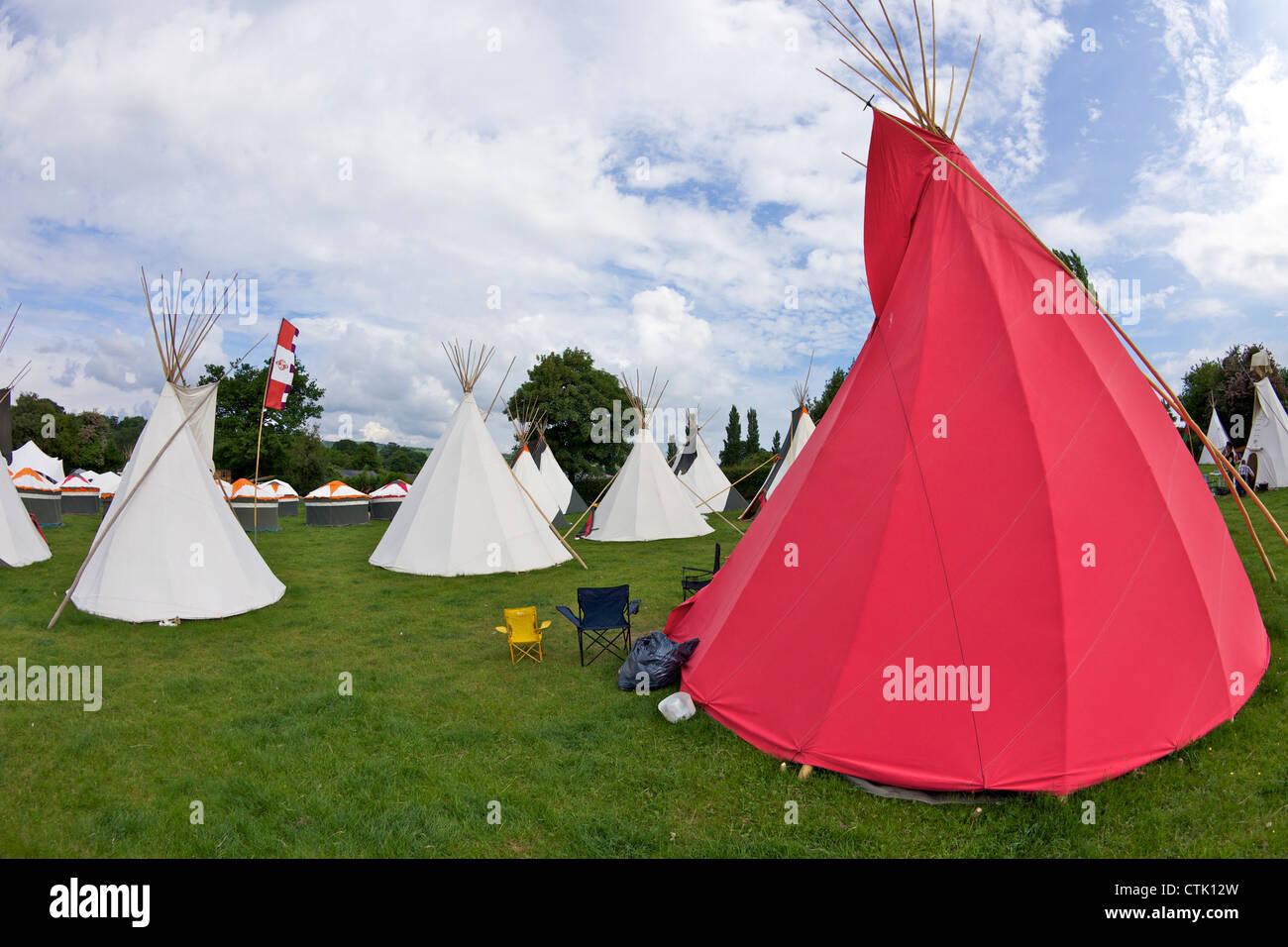 Wigwam tents at Hay-on-Wye, Powys, Wales, Cymru, UK, United Kingdom, GB, Great Britain, British Isles, Europe - Stock Image