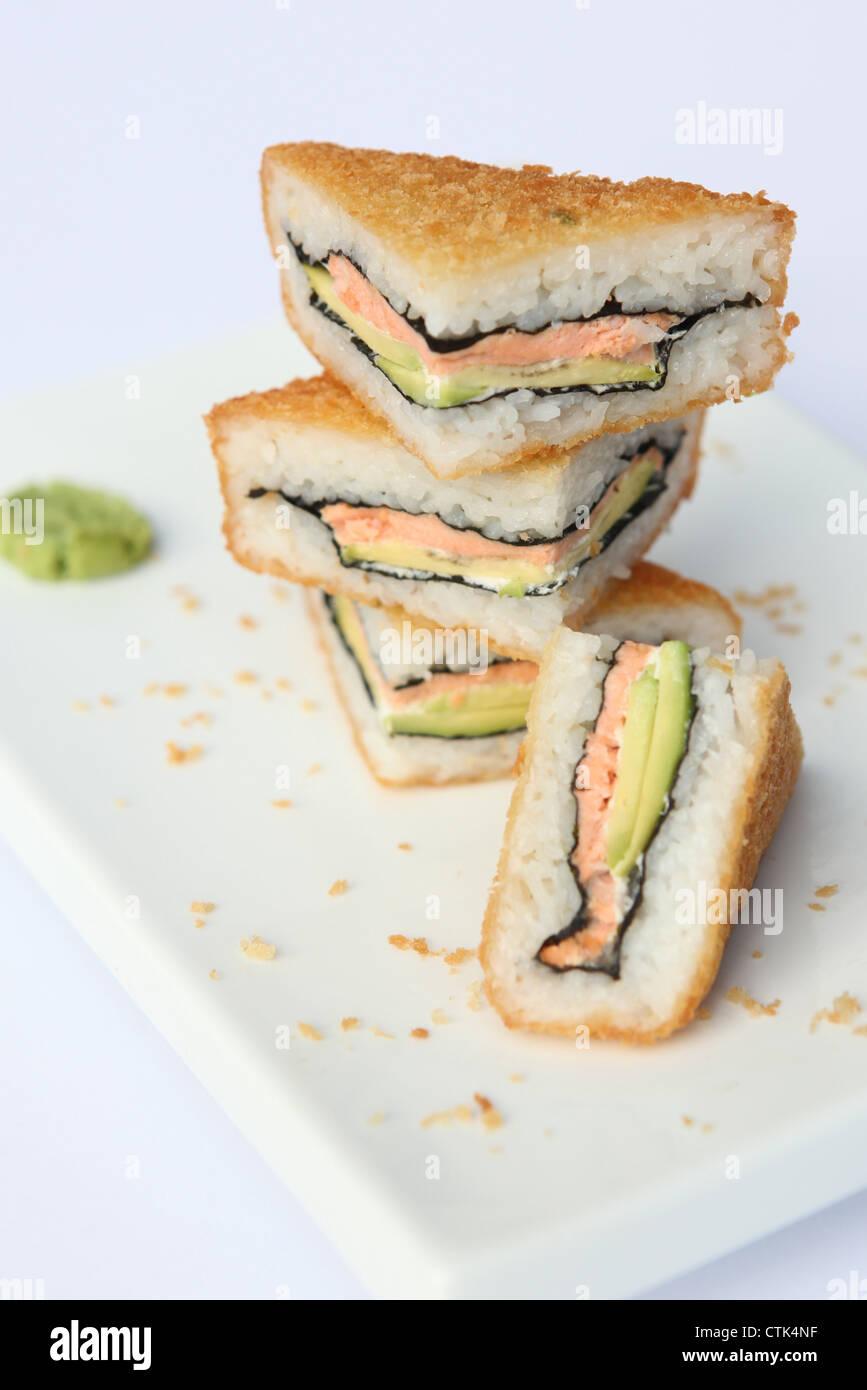 Deep fried Sushi sandwich - Stock Image
